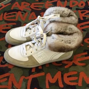 Chanel Hi Top Sneaker with Fur Trim